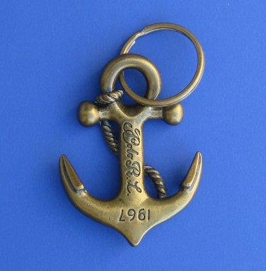 NWT Polo Ralph Lauren Brass Anchor Key Chain Ring Fob