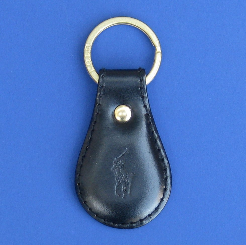"NWT Polo Ralph Lauren Black Leather Split O-Ring ""Polo Player"" Key Chain Fob"