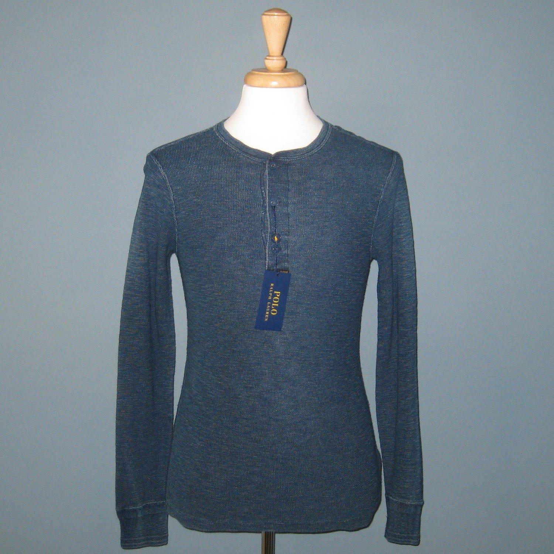 NWT Polo Ralph Lauren L/S Dark Indigo Henley Thermal Shirt - S