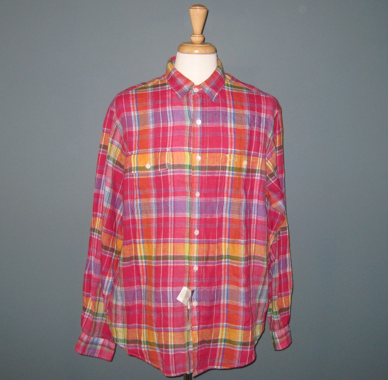 NWT Polo Ralph Lauren L/S 100% Washed Linen Ruby & Yellow Plaid Military Camp Shirt - XL