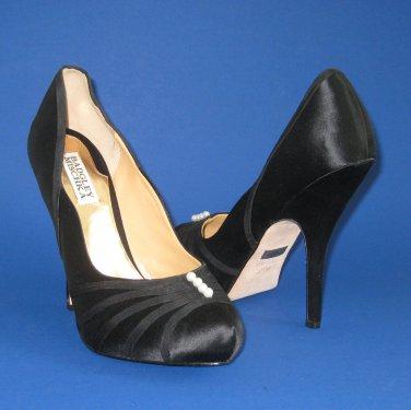 NIB Badgley Mischka Black Satin Ophelia Heel Pumps #MP2030 - 8.5M