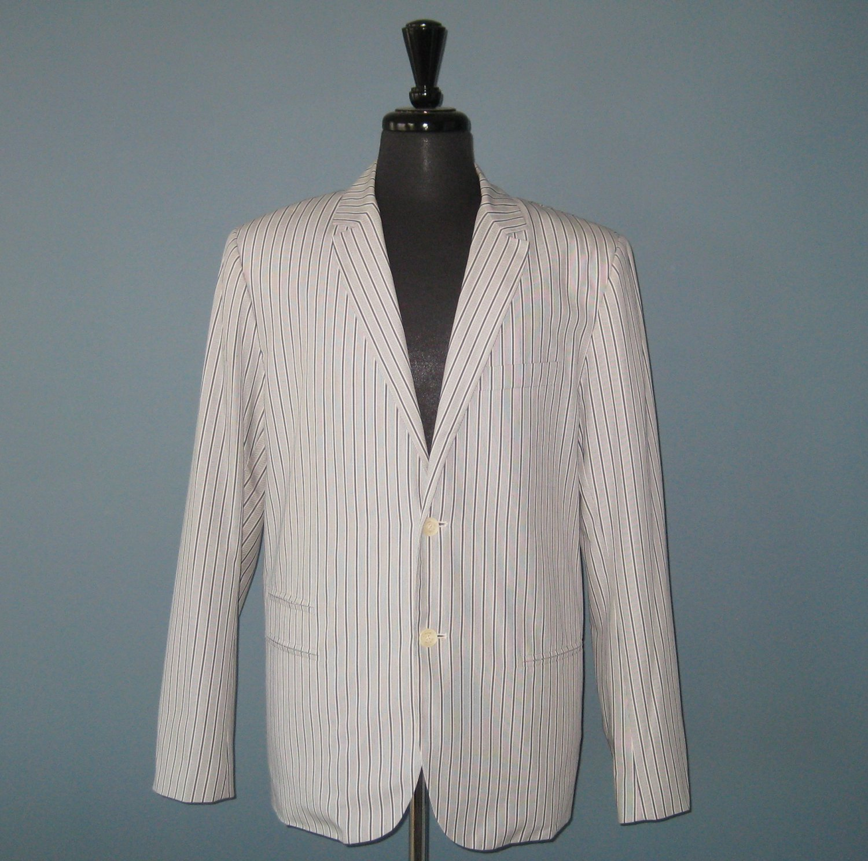 NWT Vince Blue & White Striped 100% Cotton Sport Coat Blazer Jacket - L