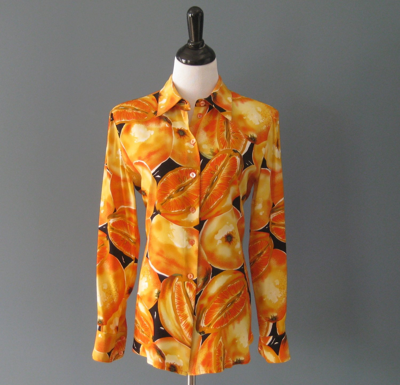 Pre-Owned Peter Nygard Orange Citrus Print 100% Silk L/S Shirt Blouse - 10