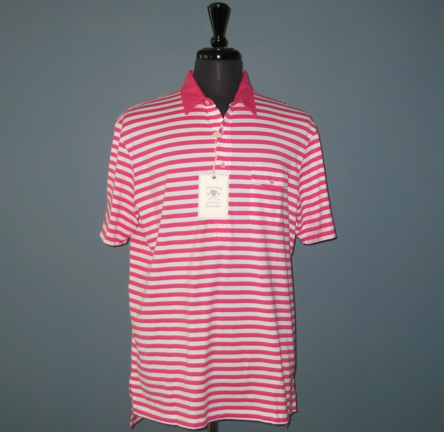 NWT Polo Golf Ralph Lauren Pink & White Stripe S/S Pima Cotton Polo Shirt - L