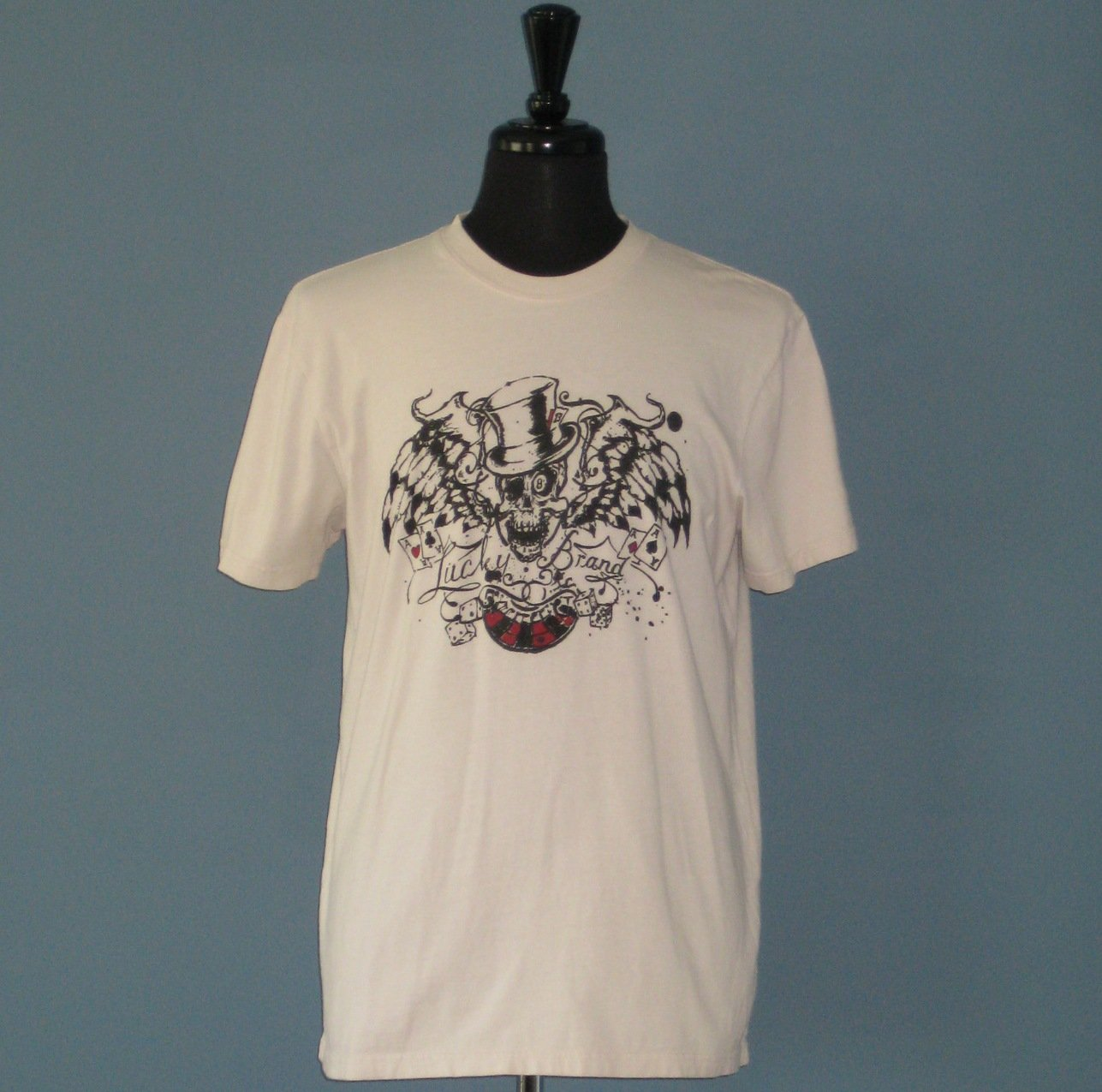 NWT Lucky Brand Beige 100% Cotton Skull Gambler S/S T-shirt - M