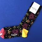 NWT Happy Socks Black Multi Fireworks Combed Cotton Knit Socks