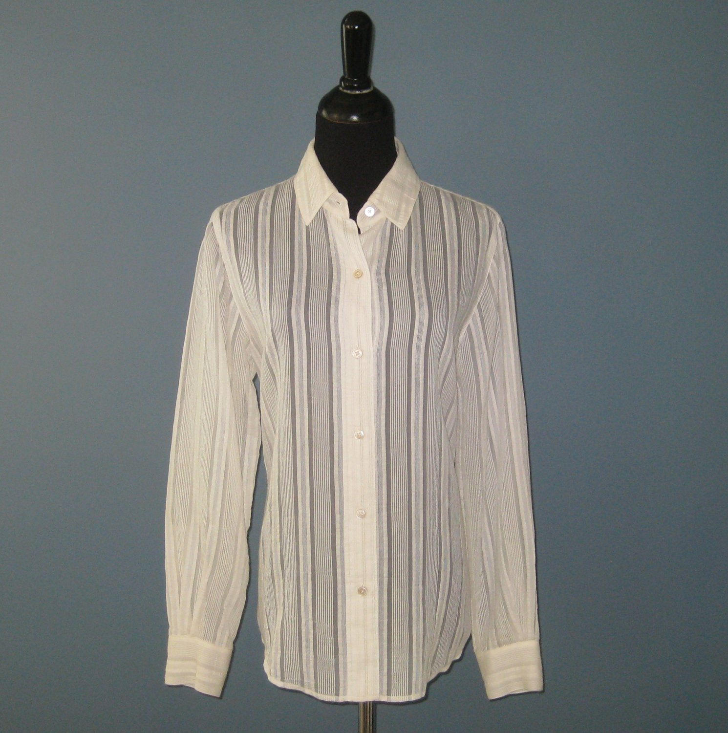 Pre-Owned Ellen Tracy Ivory Sheer Tonal Striped Cotton Blend L/S Shirt Blouse - 8