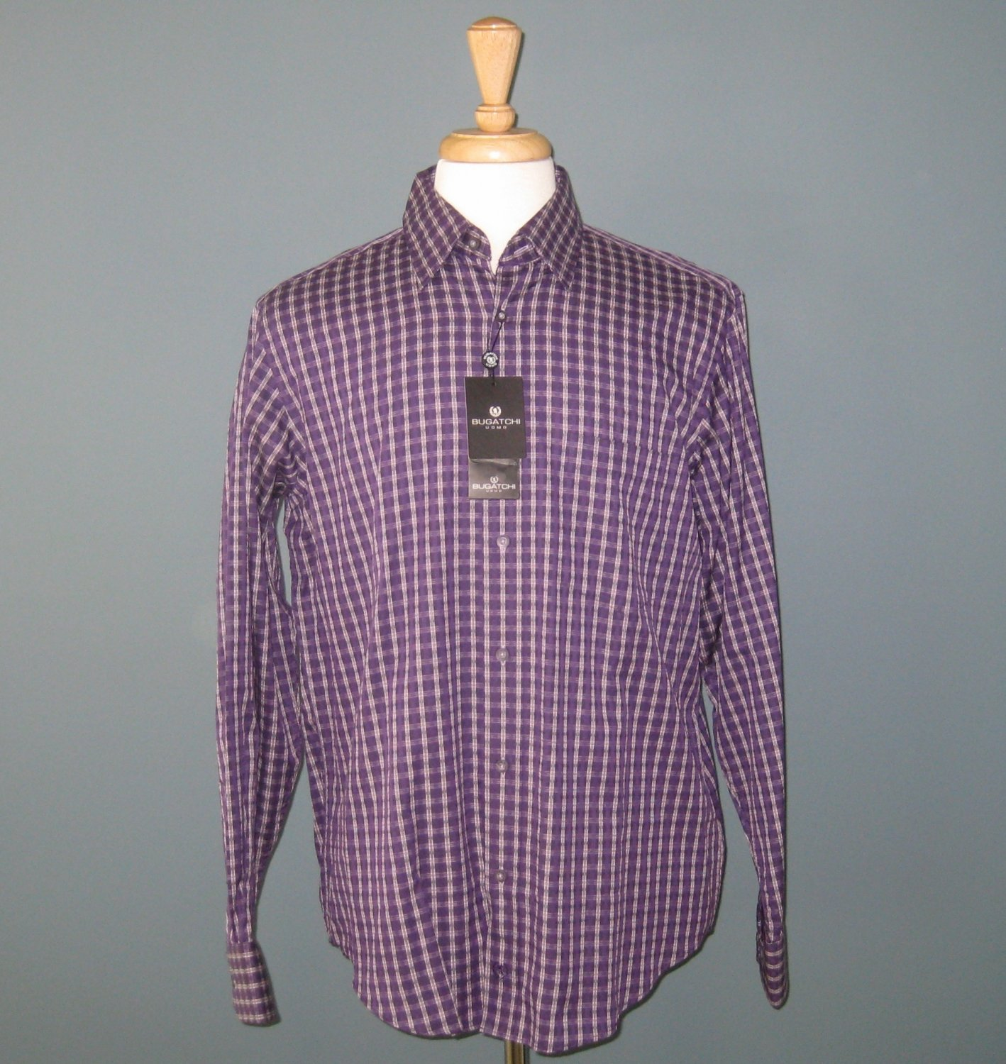 NWT Bugatchi Uomo 100% Cotton L/S Purple Box Check Shirt - L