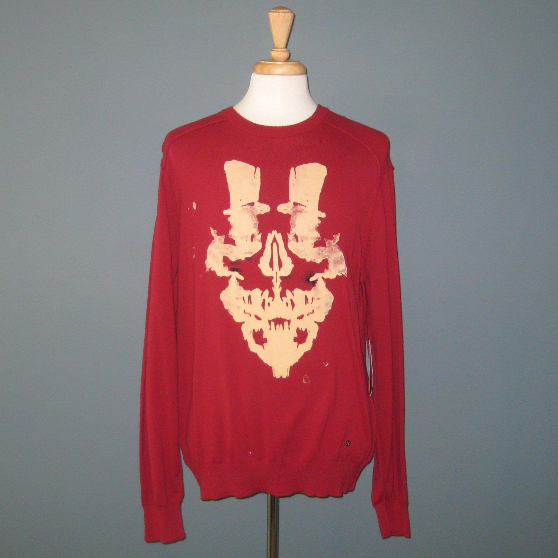 NWT Men's Artful Dodger Red Cotton Inkblot Top Hat Sweater - 2XL