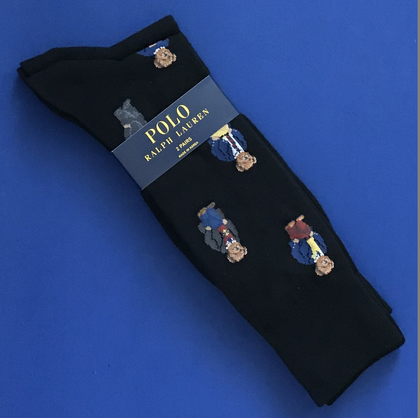 NWT Polo Ralph Lauren Black Bear Print Cotton Blend Knit Socks Two-Pack