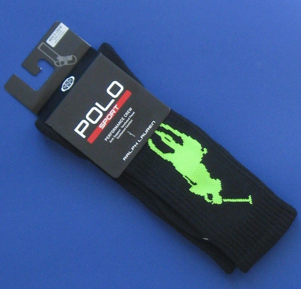 NWT Ralph Lauren Polo Sport Performance Black & Green Big Pony Athletic Socks