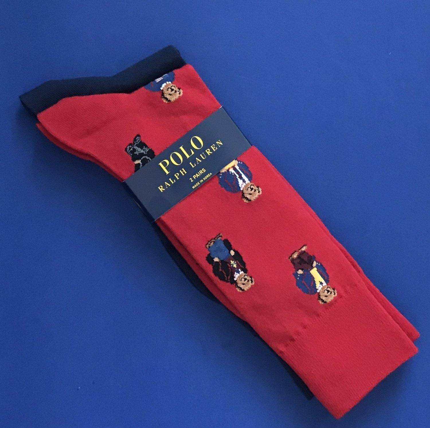 NWT Polo Ralph Lauren Red Bear Print Cotton Blend Knit Socks Two-Pack