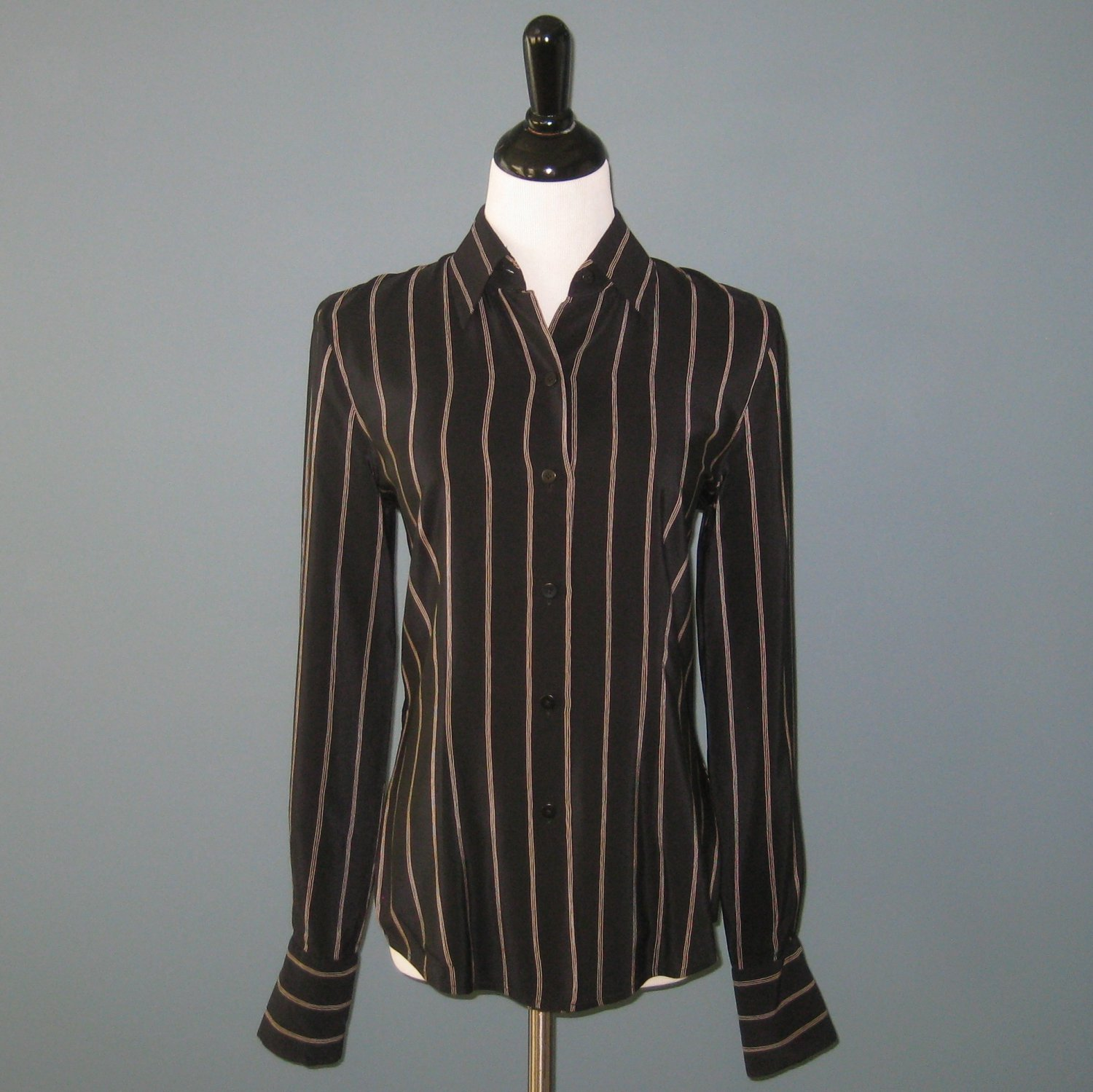 Pre-Owned Ellen Tracy Semi Fitted Black Stripe 100% Silk L/S Blouse - 6