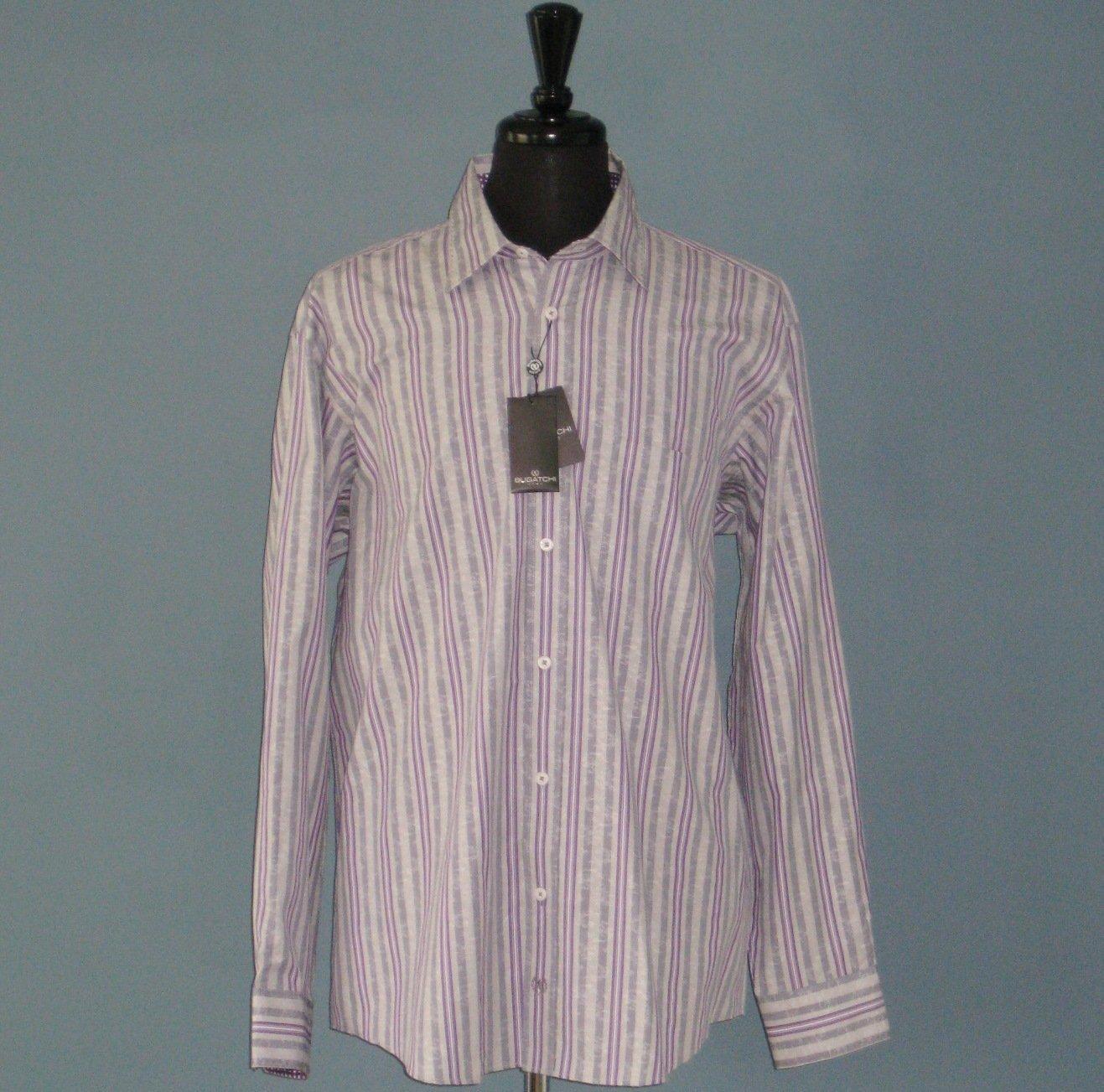 NWT Bugatchi Uomo Violet Striped 100% Cotton Long Sleeve Shirt - XL