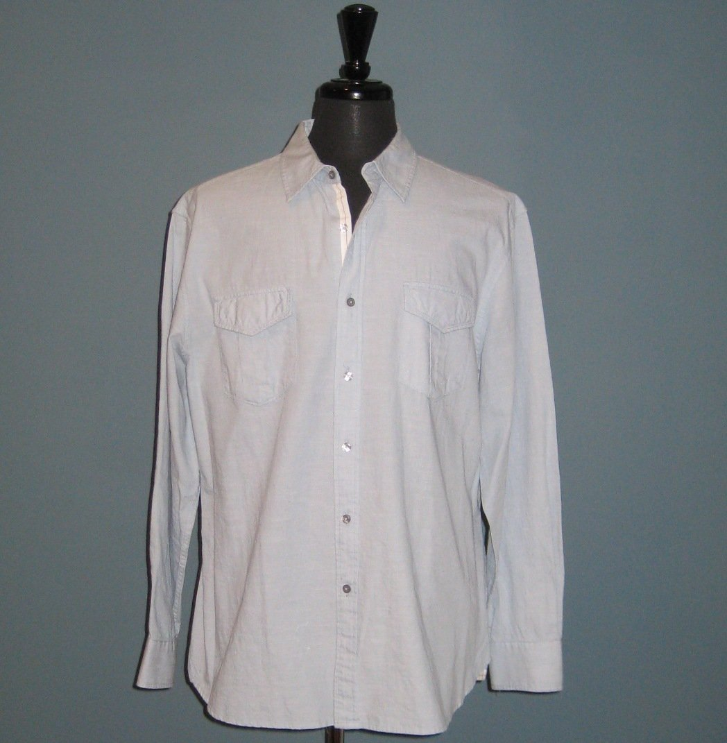 NWT Elie Tahari Men's Baby Blue 'Chase' Cotton L/S Shirt - XXL