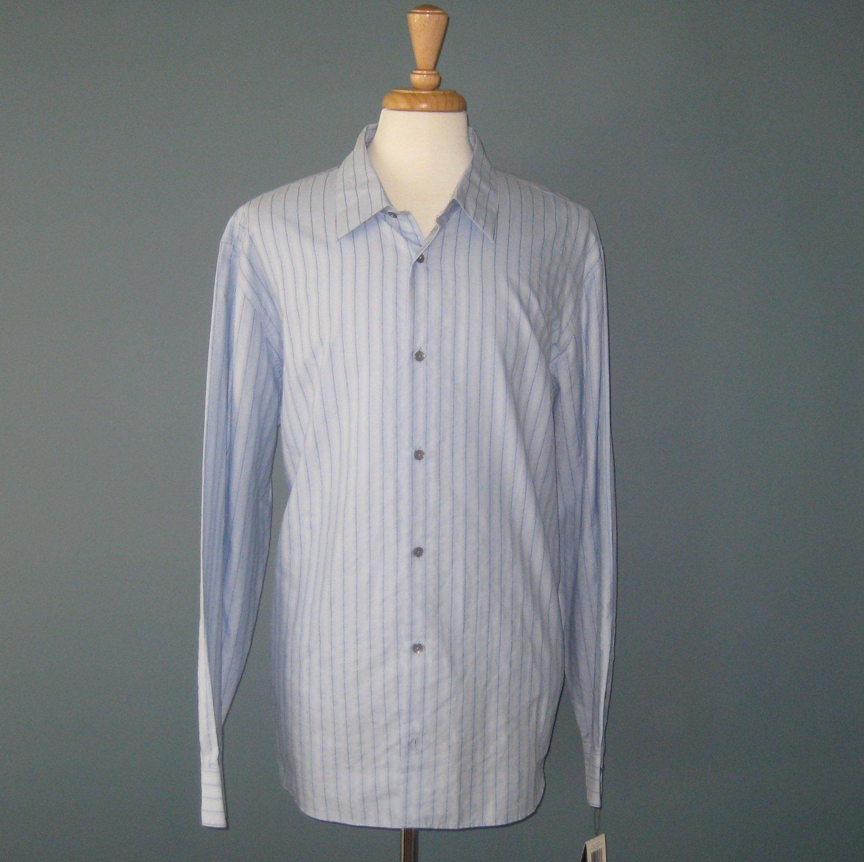 NWT Men's Blue Striped Calvin Klein L/S 100% Cotton Shirt - XXL