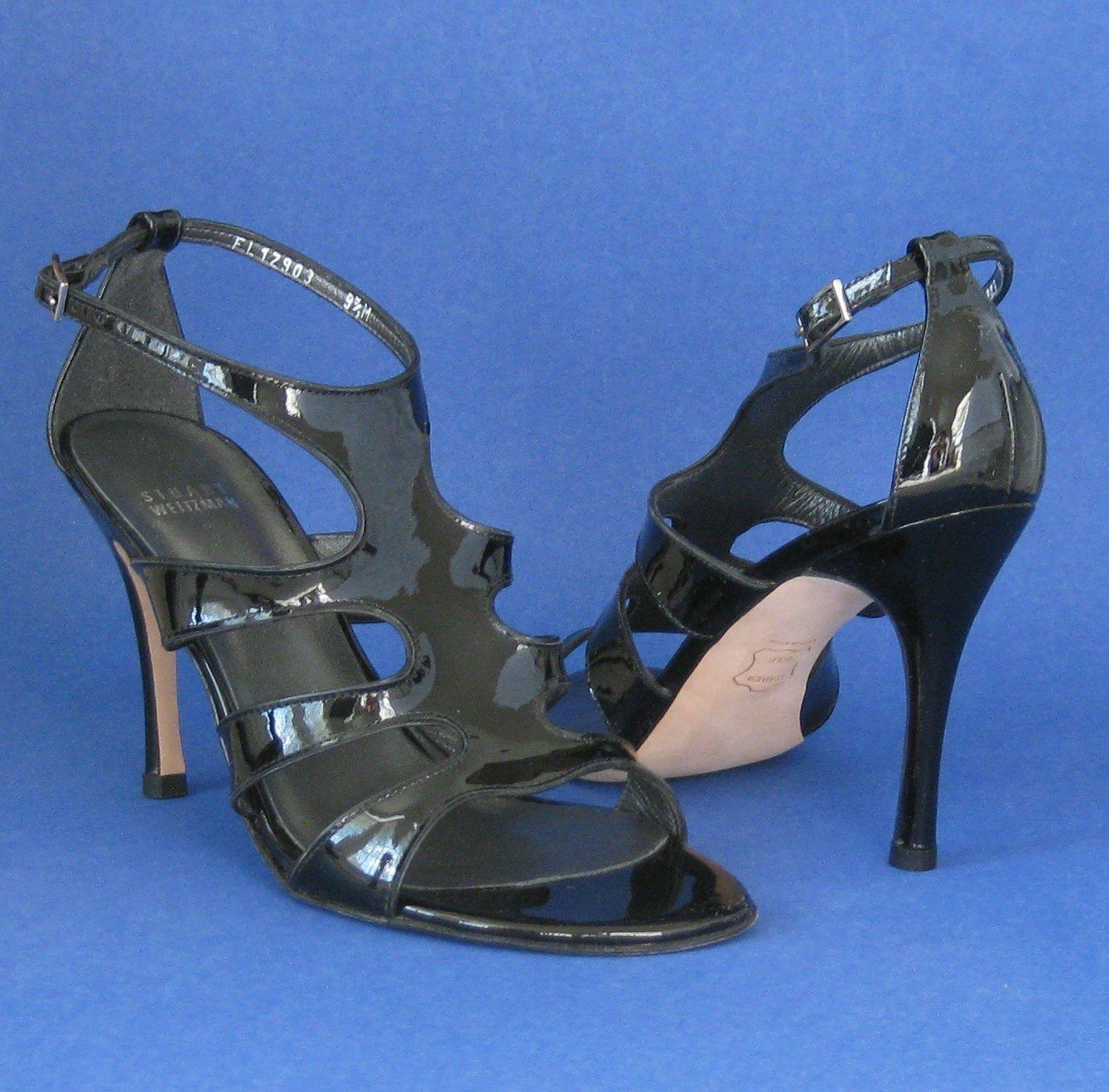 "NIB Stuart Weitzman Black Patent ""Zoom"" Gladiator Sandals #FW12903 - 10M"