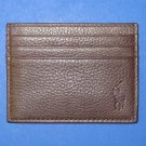 NIB Polo Ralph Lauren Brown Tumbled Leather Slim Card Case