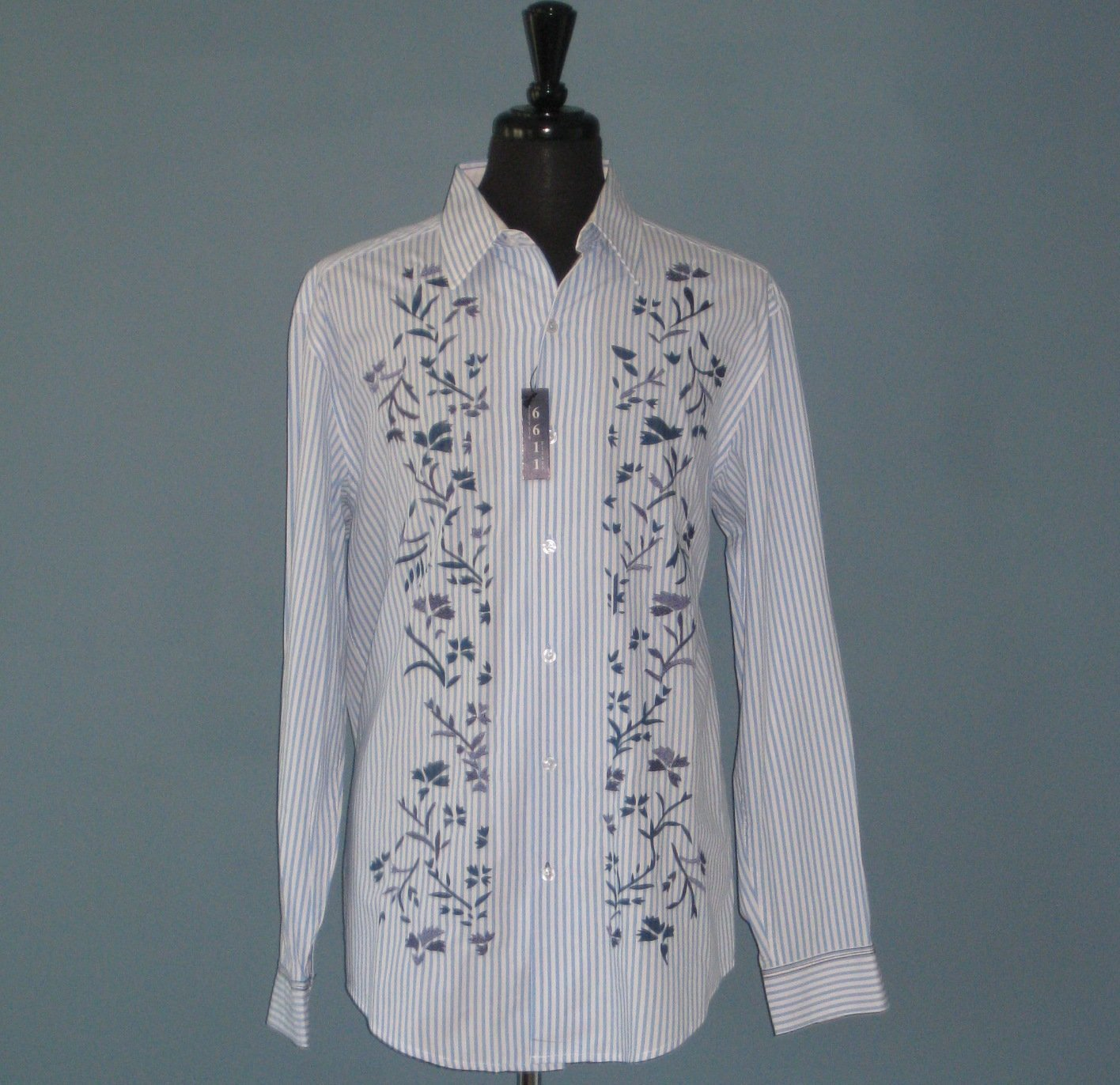 NWT 6611 Sixty Six Eleven Men's L/S Blue & White Leaf Embroidered 100% Cotton Shirt - XL