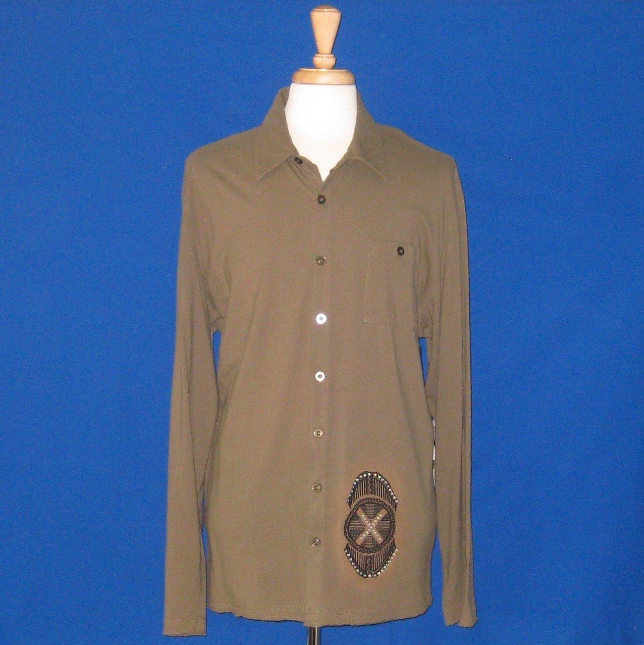 NWT X-Ray Jeans Rhinestone Studded Green Embroidered L/S Shirt - XXXL