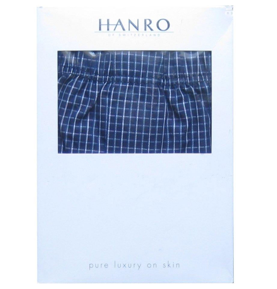 NWT Hanro of Switzerland Twilight Blue Check Fancy Woven 100% Cotton Boxer Shorts - XL