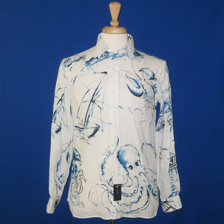 NWT Polo Ralph Lauren 100% Linen White & Blue Seacoast Nautical L/S Shirt - S