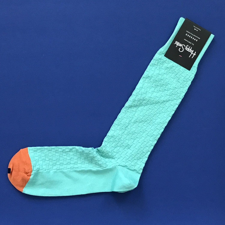 NWT Happy Socks Dressed Mint Green & Orange Moss Knit Trouser Dress Socks