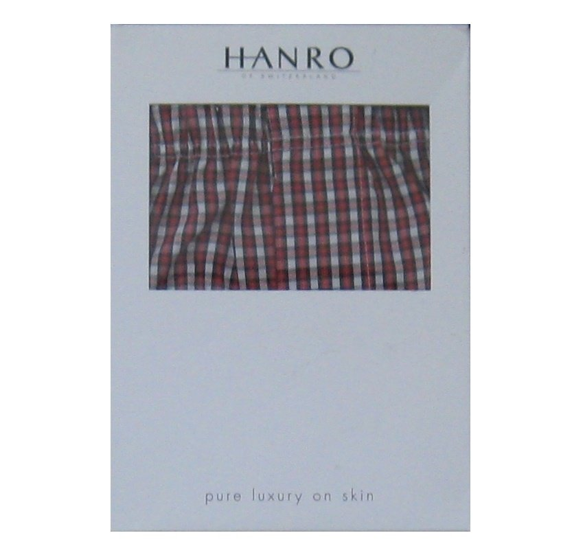 NWT Hanro of Switzerland Cardinal Check Fancy Woven 100% Cotton Boxer Shorts - XL