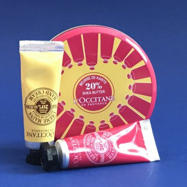 NIP L'Occitane Shea Butter Mini Hand Cream Two (2) Piece Tin Sampler
