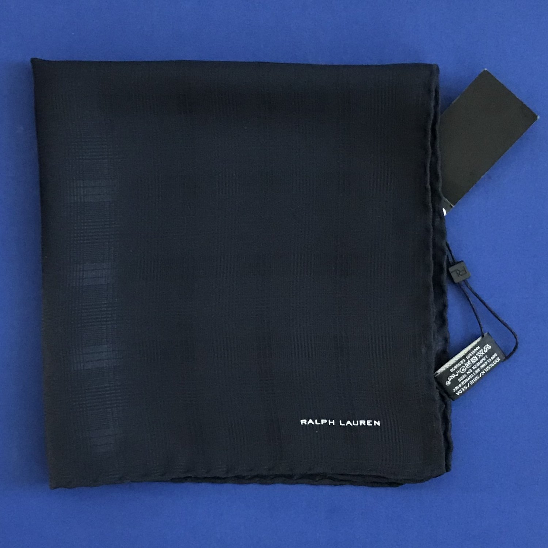 NWT Ralph Lauren Black Label Navy Blue 100% Silk Handkerchief Pocket Square