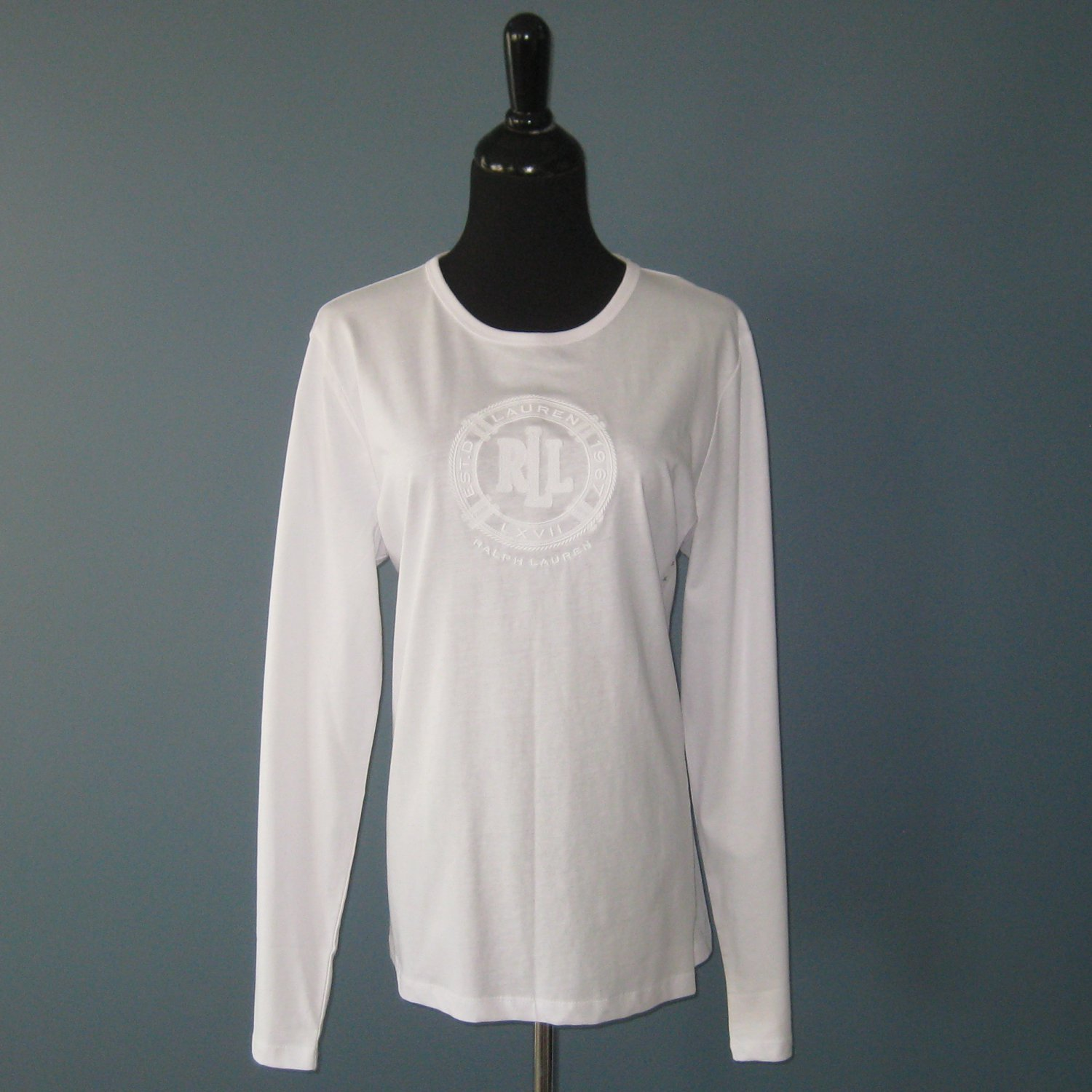 NWT Ralph Lauren White 100% Cotton RLL Embroidered L/S Top XL