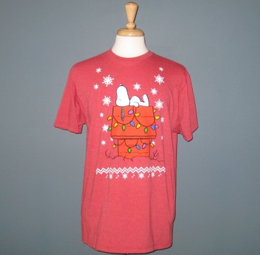 NWT Peanuts Snoopy X-Mas Red Cotton Blend Short Sleeve T-Shirt - L
