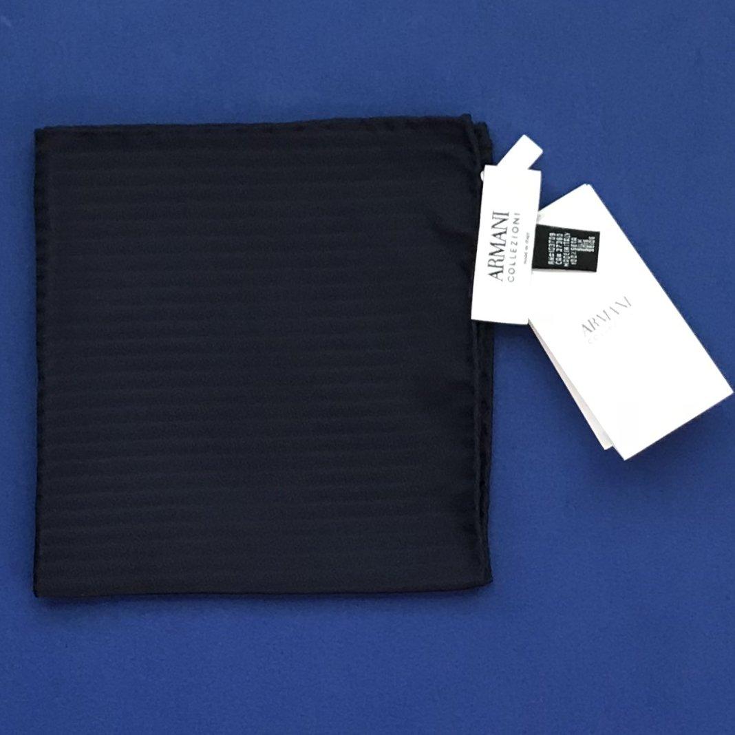 NWT Armani Collezioni Navy Blue Textured Tonal Stripe 100% Silk Handkerchief Pocket Square