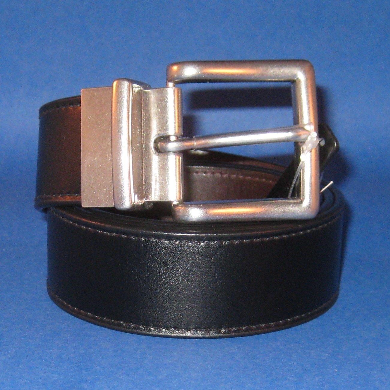 NWT Polo Ralph Lauren Men's Black/Brown Reversible Wide Leather Belt - 40