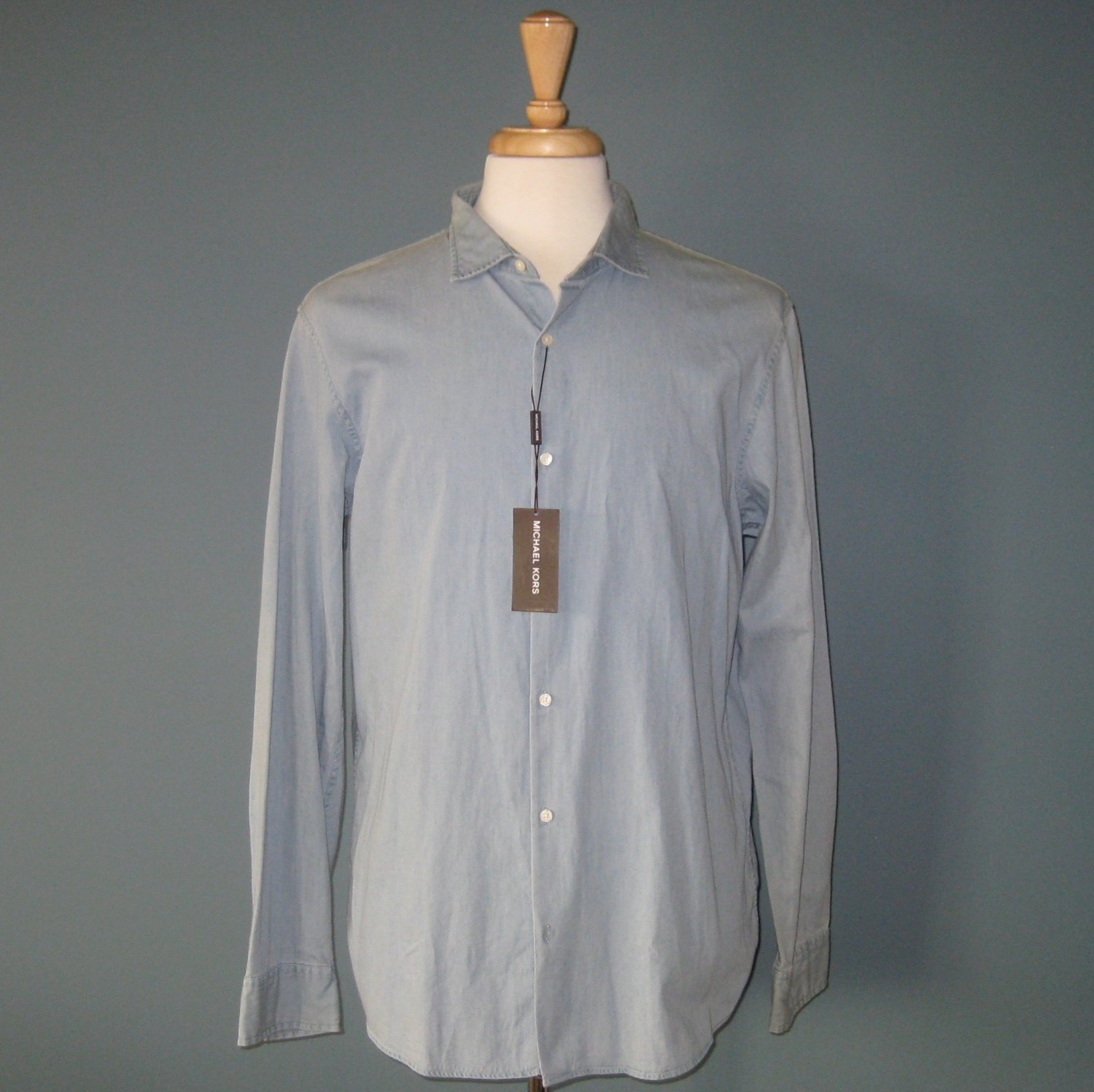 NWT Michael Kors L/S 100% Cotton Light Washed Denim Shirt - XL