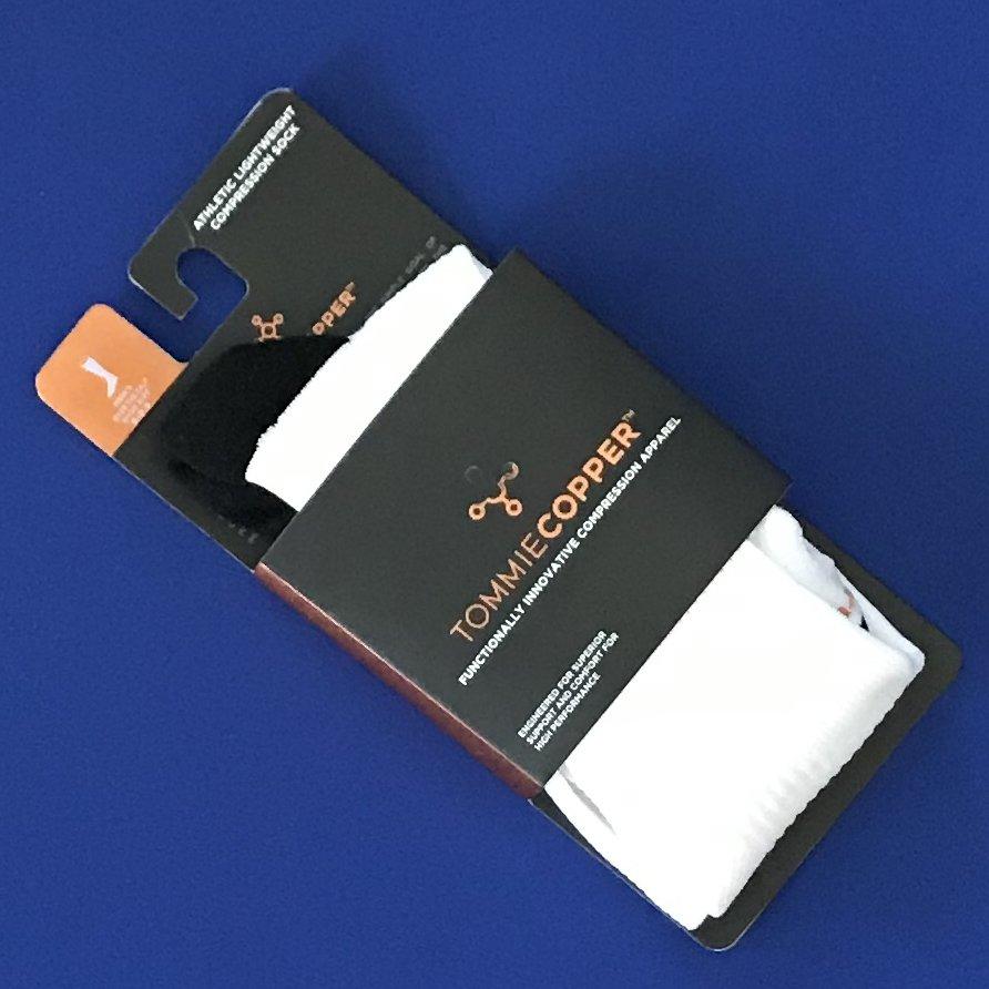 NWT Tommie Copper White w/Black Athletic Lightweight Compression OTC Socks