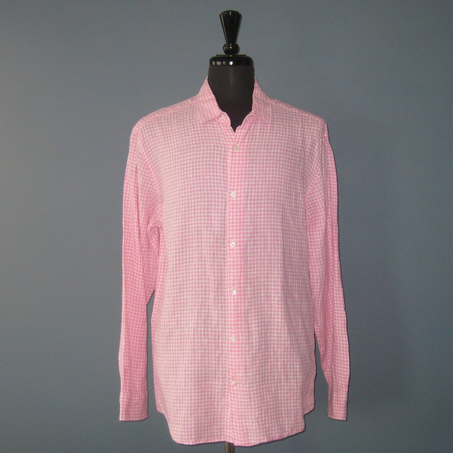 NWT Saks Fifth Avenue 100% Linen Pink & White Check L/S Shirt - XL