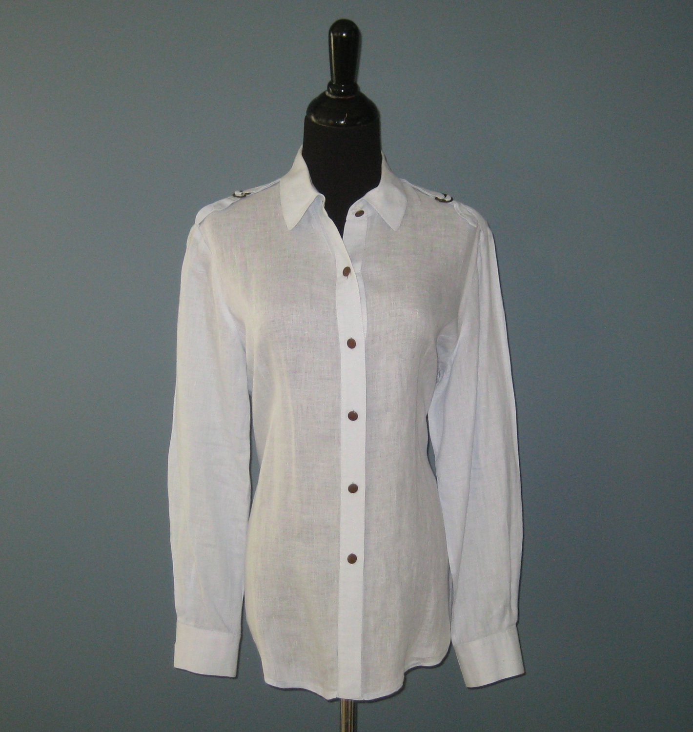 Pre-Owned Ellen Tracy Powder Blue Semi Sheer 100% Linen L/S Shirt Blouse - 12