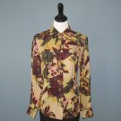 Pre-Owned Ellen Tracy 100% Silk Green & Burgundy Floral Print Blouse - 10