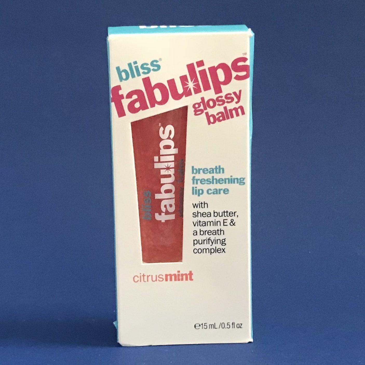 NIB Bliss Fabulips Glossy Lip Balm .12 oz - Citrus Mint
