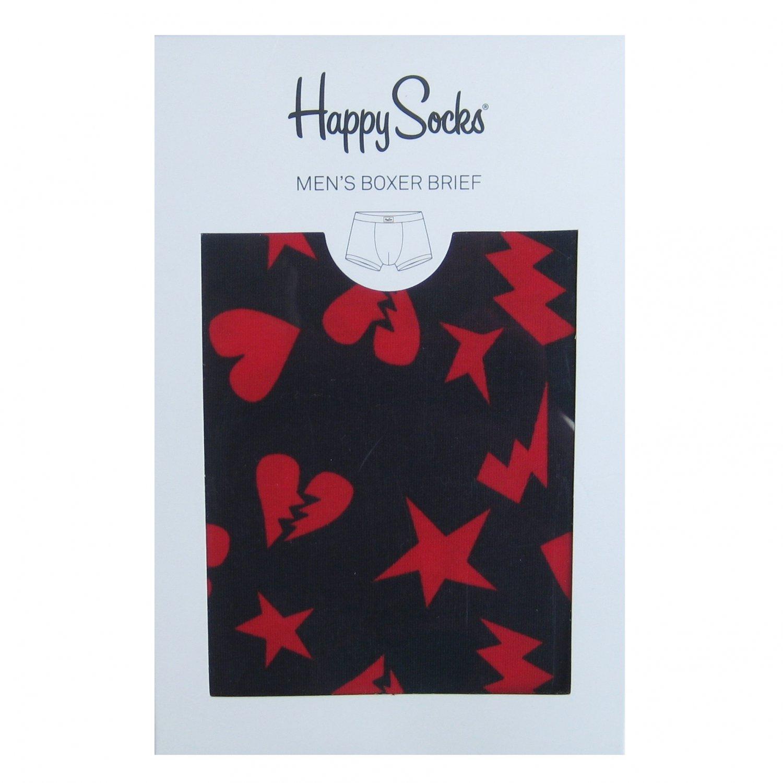 NIB Happy Socks Blue w/Red Hearts & Stars Print Cotton Stretch Boxer Brief - M