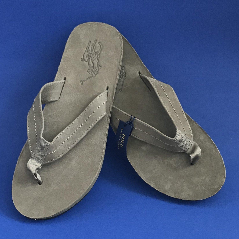 NWT Polo Ralph Lauren Olive Edgemont Big Pony Suede Flip Flop Thong Sandals - 9D