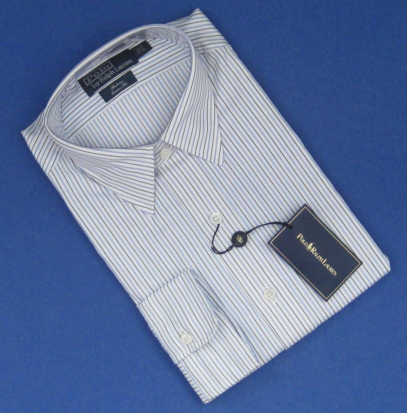 NWT Polo Ralph Lauren White w/Blue & Black Stripe Andrew Custom Fit Dress Shirt - 16/35