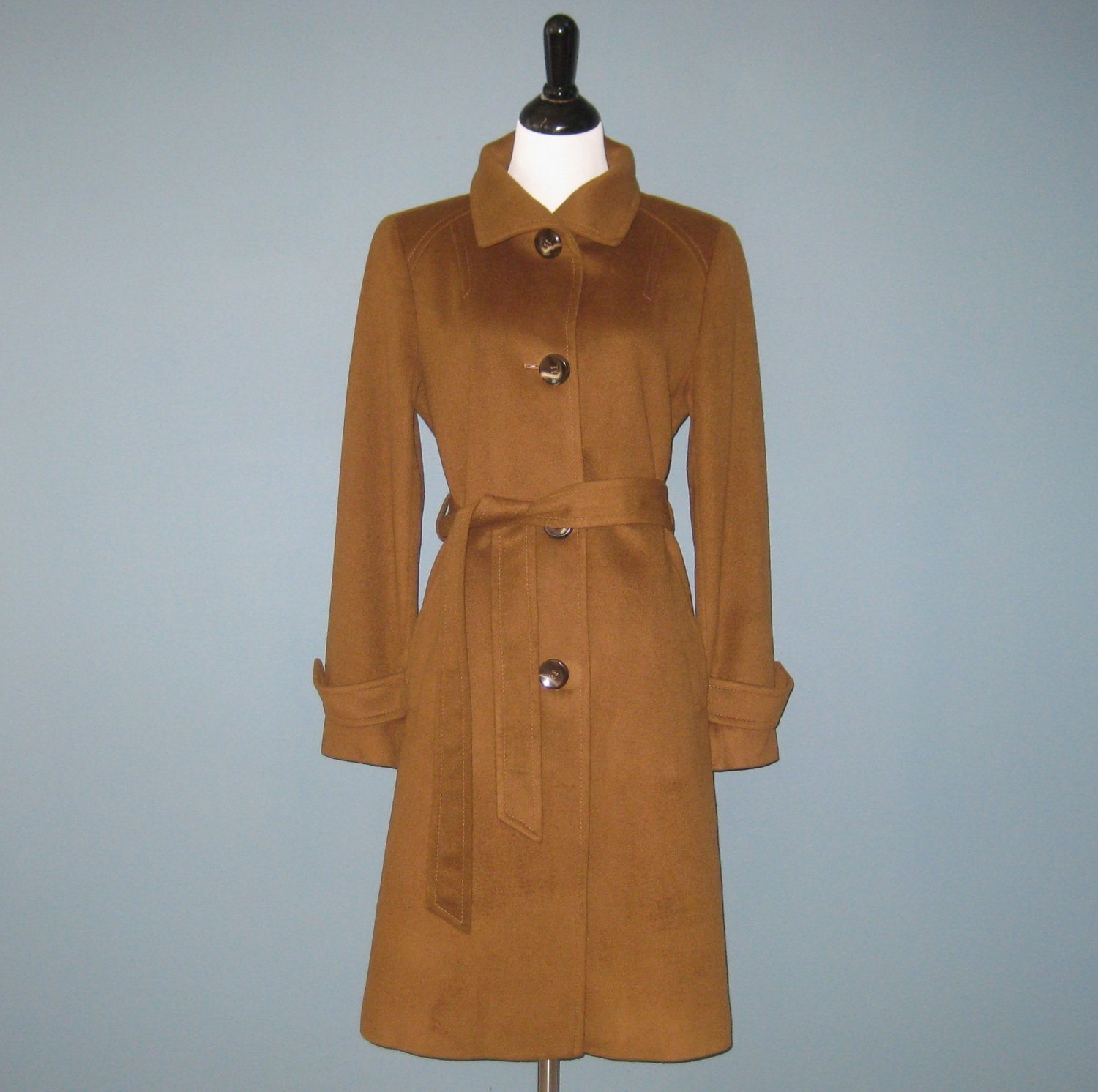 Pre-Owned Ellen Tracy Collection 100% Cashmere Copper Brown Coat - 10