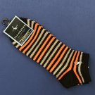 NWT Tailorbyrd Orange Gray Black Striped Cotton Blend Knit Low Cut Ankle Socks Footies