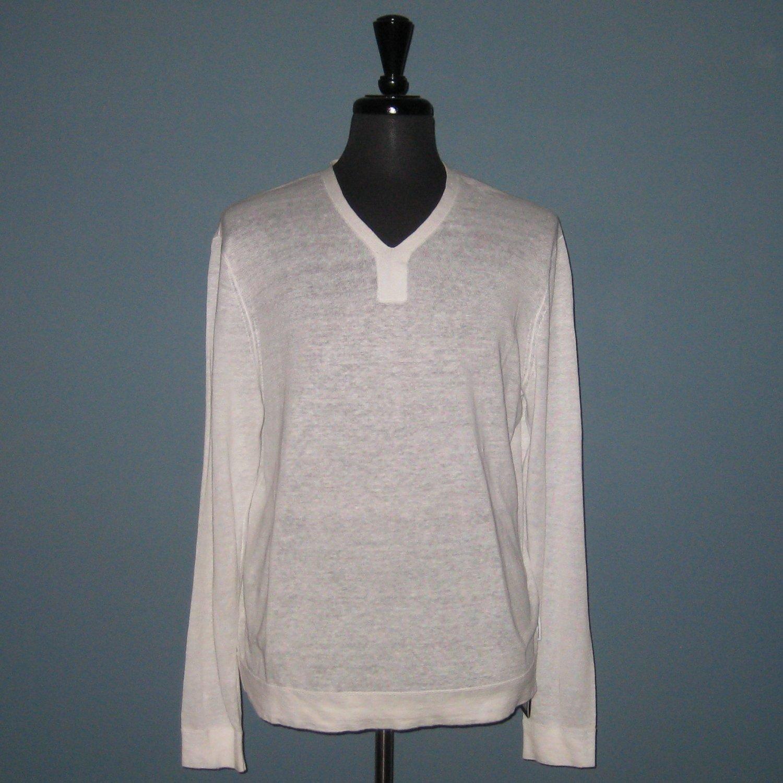 NWT A|X Armani Exchange 100% Linen Knit V-Neck Pullover Shirt - XL