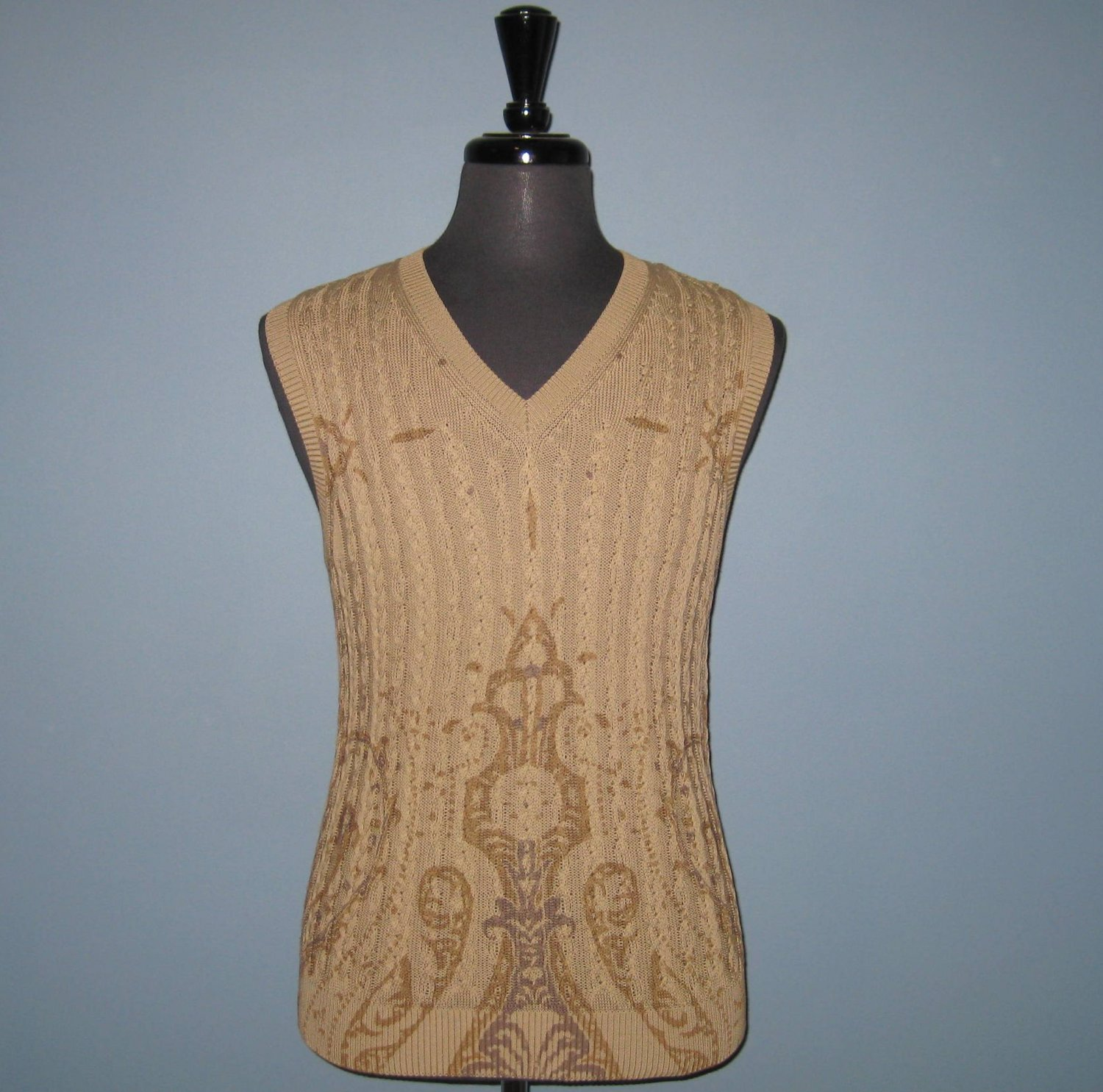 NWT Etro Italian Made Beige 100% Cotton Cable Knit V-Neck Sweater Vest - S