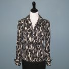 Pre-Owned Jones New York Black & Ivory 100% Silk L/S Blouse - 6