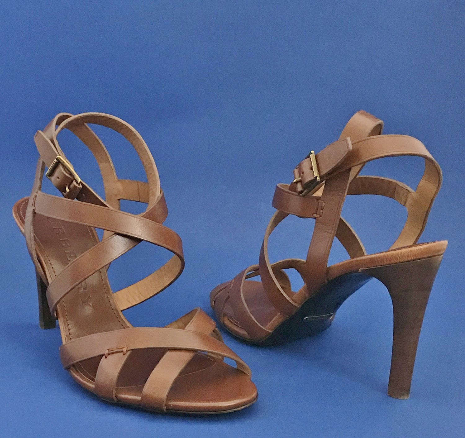 NIB Burberry Brown Leather Ossory Bridle Strappy Sandals Heels - 10