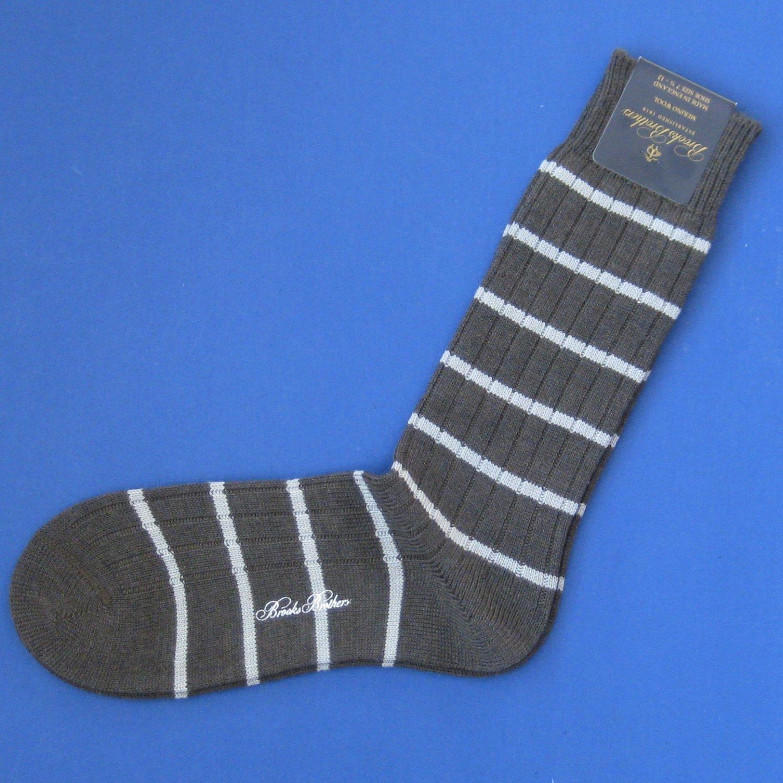NWT Brooks Brothers Greenish Gray w/Gray Merino Wool Striped Knit Trouser Dress Socks